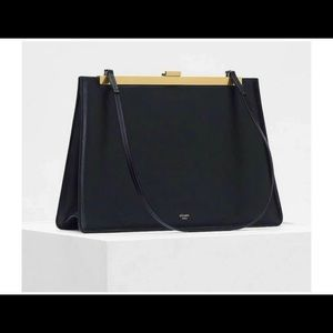 Celine Clasp Bag with Gold Hardware Black Leather